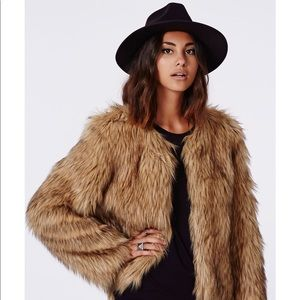 Misguided Cropped Fur Jacket